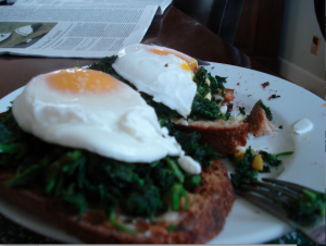 poached eggs on nettles and toast